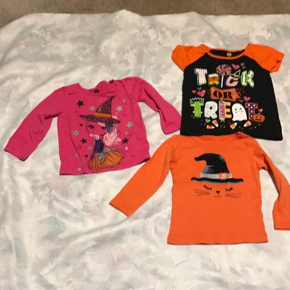 3 pack carters halloween shirts cat witch 12m